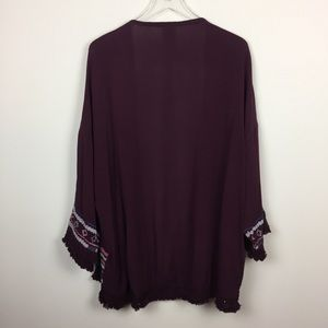 Knox Rose Tops - Knox Rose | Maroon Boho Embroidered Tassel Kimono